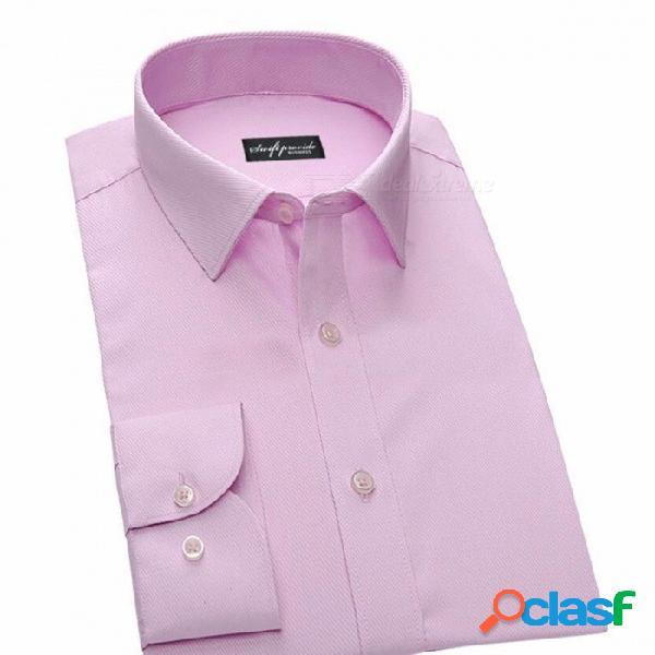 Nano camisa de manga larga de color sólido a prueba de agua, ocupación delgada de negocios masculinos camisa anti-fouling formal rosa / 38