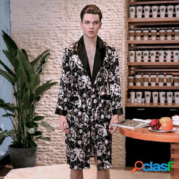 Primavera verano de manga larga de impresión abajo cuello seda traje de satén hombres albornoz camisón pijamas de casa wp777 negro / l