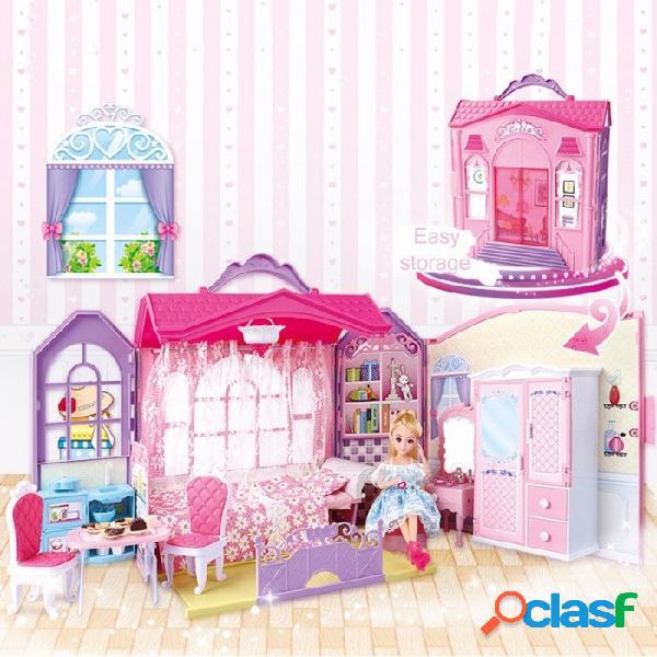 Princesa castillo dollhouse torretas juguetes 3d rompecabezas niños casa de cambio rompecabezas tridimensionales dollhouse rosa