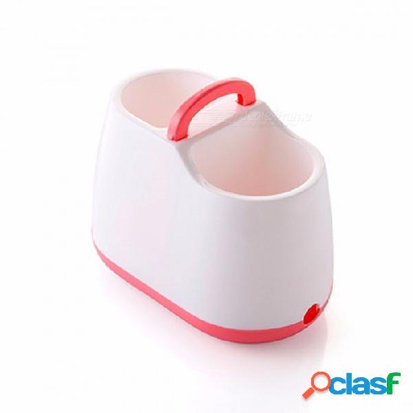 Vajilla de cocina vajilla de drenaje, palillos cuchara caja de almacenamiento de horquilla, colador de escurridor desmontable titular de cubiertos rosa