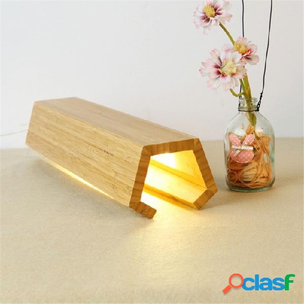 Ywxlight creativo carbonizado bambú 5w led lámpara de mesa sala de estar decoración iluminación noche luz