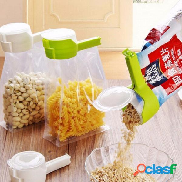 El sello vierte el clip de sellado de la bolsa de almacenamiento de bocadillos para alimentos, la pinza de sellado de mantenimiento fresco, el ahorrador de alimentos de plástico para el hogar