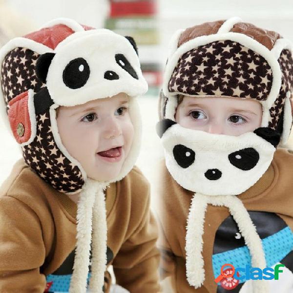 Encantadores sombreros de panda gorras para bebés niños aviador sombrero bombardero gorra de invierno máscaras para niños, todo cálido para niños ropa y accesorios rojos