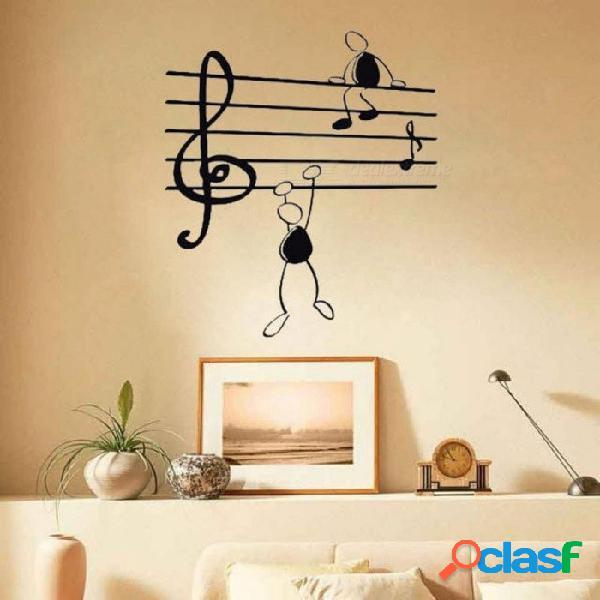 Etiqueta de la pared notas de la música chicos divertidos para la sala pegatinas de vinilo arte para instrumentos con color negro dos tamaños disponibles 56x38cm / negro