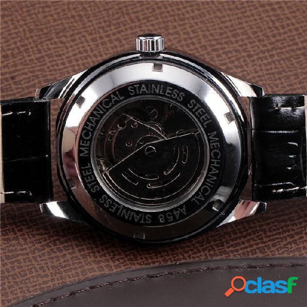 Ganador. hombres de lujo. fechas clásicas. reloj mecánico. cuerda automática. cuero negro / correa de acero inoxidable. reloj de pulsera. 01.
