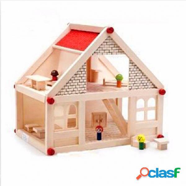 Mini bloques de construcción de la casa juguete montado modelo bloques de construcción kits juguetes de bricolaje para niños de color amarillo claro