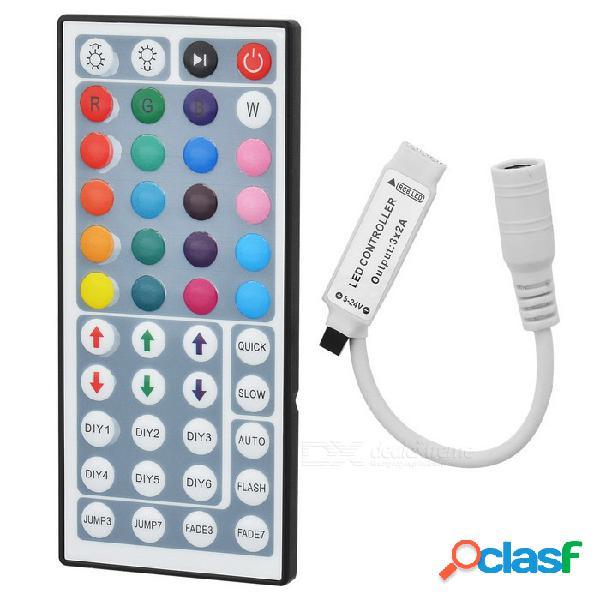 Mini controlador + mando a distancia ir de 44 teclas para smd 5050 / tira de lámpara 3528 led rgb - blanco