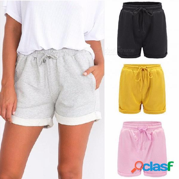 Pantalones cortos de verano de color sólido de las mujeres cintura elástica floja casual vacaciones playa pantalones cortos para prensar amarillo / xl