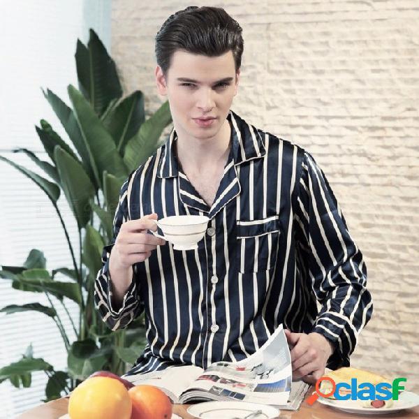 Primavera verano hombres mancha de seda pijamas de rayas conjunto masculino de manga larga pantalones impresos de seda ropa de dormir delgada casa camisón azul marino / l
