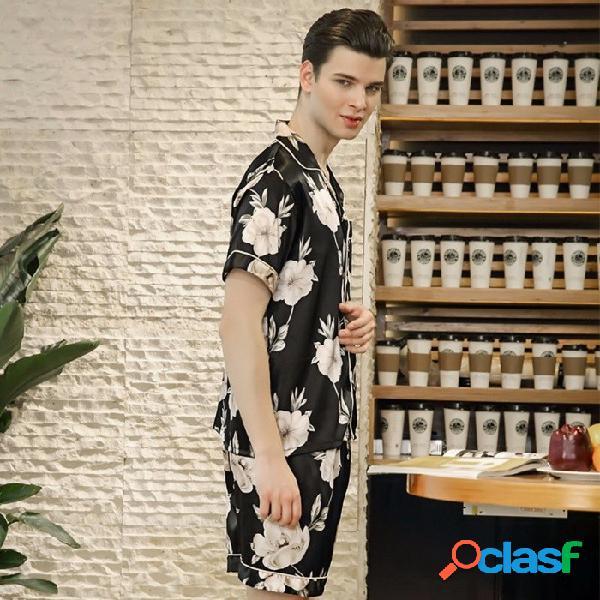 Traje de pijama de verano 2018 para hombre, traje de solapa con estampado de seda, manga corta, pantalón de dos piezas, traje de raso, conjunto de ropa de salón negro