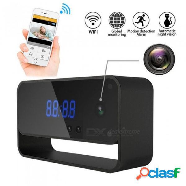 Wifi cámara reloj hd 1080p cctv cámara de seguridad inalámbrica ip para cámaras de interior en casa starlight visión nocturna automática visión remota 16g