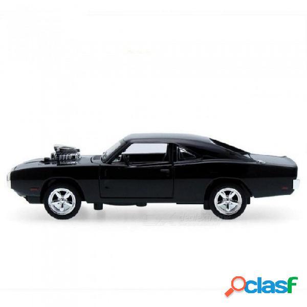 1: 32 el rápido y furioso modelo de aleación de coche rc car pull back led coche colección regalo juguetes para niños negro