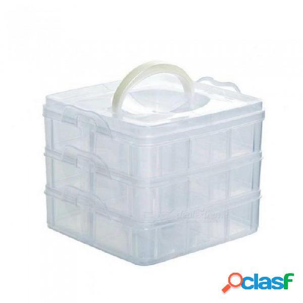 18-celdas caja de herramientas de joyería perlas píldoras titular de uñas medicina caja de almacenamiento funda de plástico transparente organizador de la oficina de plástico