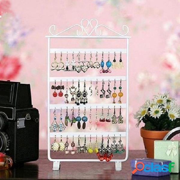Blanco / rosa / negro 33 cm pendiente pendiente 48 orificios estante joyería marco de pared de hierro accesorios de soporte de base de almacenamiento para la joyería blanca