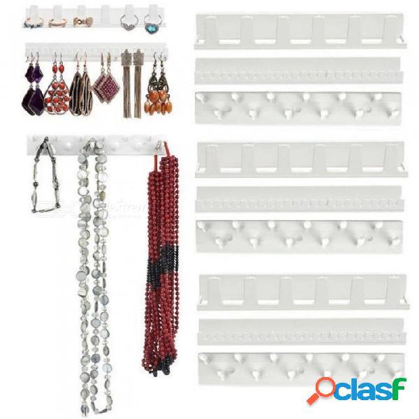 Exhibición de la joyería colgante pendiente colgante anillo colgador soporte estante ganchos pegajosos 9x con color blanco plástico blanco