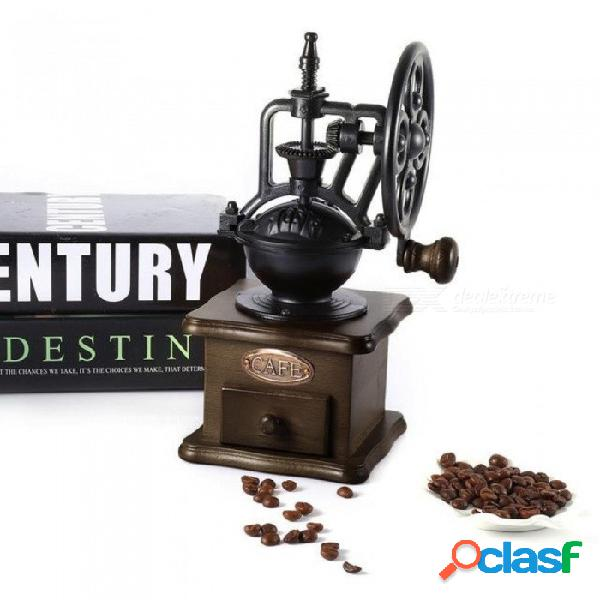Manual molinillo de café estilo retro molino de granos de café de madera moler rueda de la fortuna diseño mano café vintage maker herramientas de cocina negro