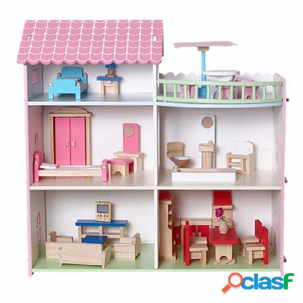 Muebles de casa de muñecas de madera diy mini casa para muñecas hechos a mano juguetes para niños niñas niños regalos de cumpleaños de color rosa