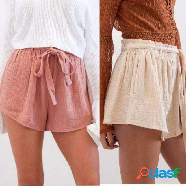 Pantalones cortos de cintura elástica de verano para mujeres, pantalones cortos y elegantes de pierna ancha, pantalones cortos casuales, rosa / xl
