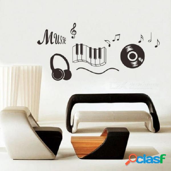 Pvc moderno nota de la música nota de auriculares pegatinas decoración del hogar decoración arte extraíble con color negro 42 * 43 cm 42 * 43 cm