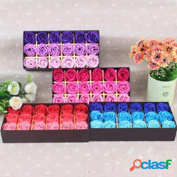 Regalo Sorpresa 18 Unids Rosa Flor Corazón Perfumado Baño De Pétalos Cuerpo Jabón Regalo Del Banquete De Boda Regalo Del Día De San Valentín Creativo Azul