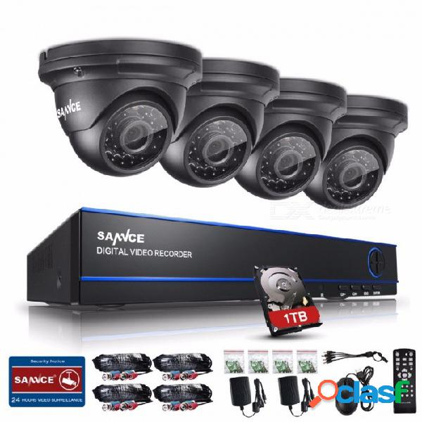 Sannce 2.0mp 1080p hd 8 canales dvr ahd kit de vigilancia w / 4pcs 3000tvl cámaras de seguridad para el hogar al aire libre, sistema cctv con 1tb hdd 1t
