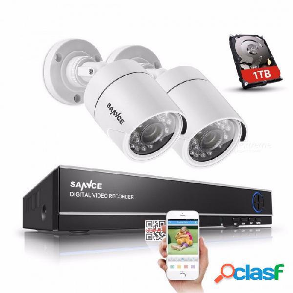 Sannce 4 canales 720p dvr cctv sistema de vigilancia de la cámara w / 1tb hdd, 2pcs 1200tvl 720p ir cámaras de seguridad al aire libre 1t