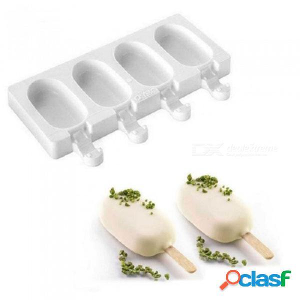 4 celdas de silicona helado helado helado paleta pop molde máquina de hielo bandeja de molde bandeja pan cocina + 40 palos de madera 4 células
