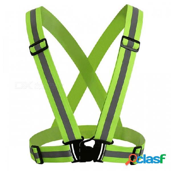 Cinturón reflectante de chaleco de seguridad de alta visibilidad de 360 grados adecuado para correr ciclismo deportes al aire libre - verde fluorescente