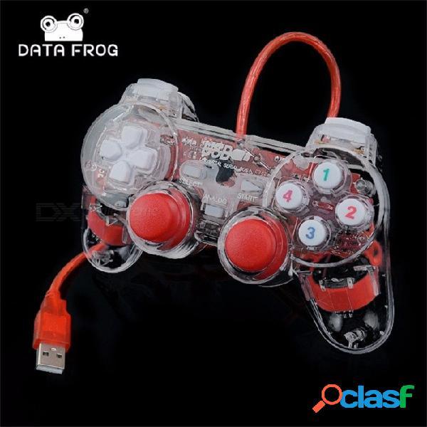 Controlador usb gamepad usb gamepad vibración doble joystick joystick para pc portátil para win7 / 10 / xp