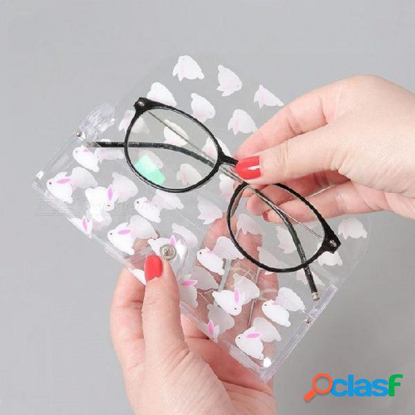 Kawaii plástico transparente gafas protectora caso de metal botón de gafas de sol caja caja de lápices animales fruta 1 unids perro