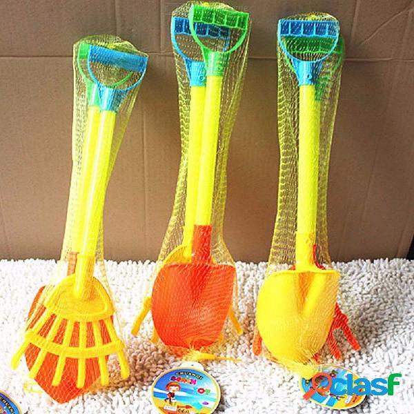 Multifunción de dos piezas conjunto de niños playa de plástico pala rastrillo juguetes vacaciones arena herramientas de color al azar