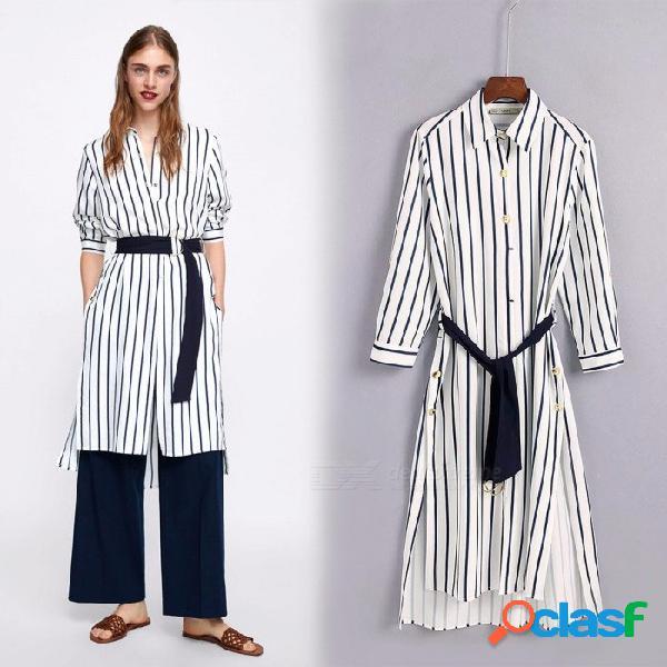 Vestidos de camisa de rayas verticales para las mujeres estilo de moda inglaterra abajo cuello vestido de manga larga s
