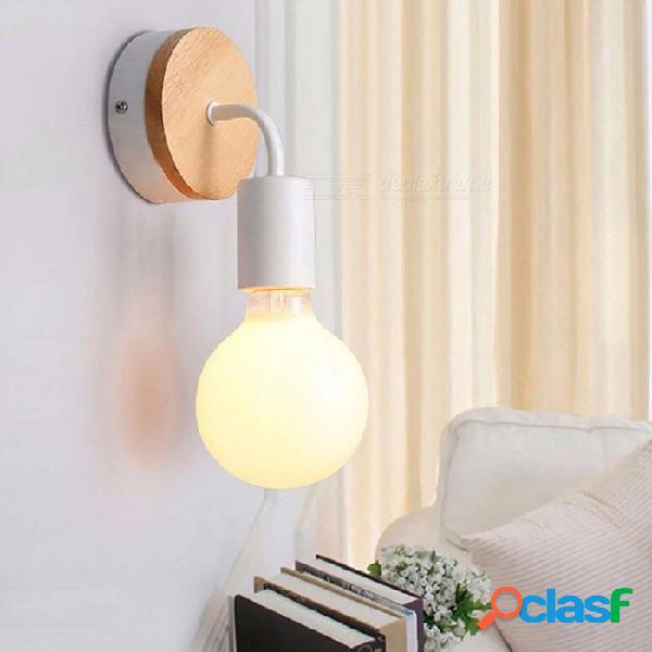 Vintage norte de europa madera lámpara de pared de metal iluminación interior industrial lámparas de noche luces de pared led - blanco