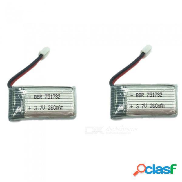 2 unids 3.7 v 260 mah h36 polímero de litio de alta potencia batería li-po para syma x8c x8w rc quadcopter - plata