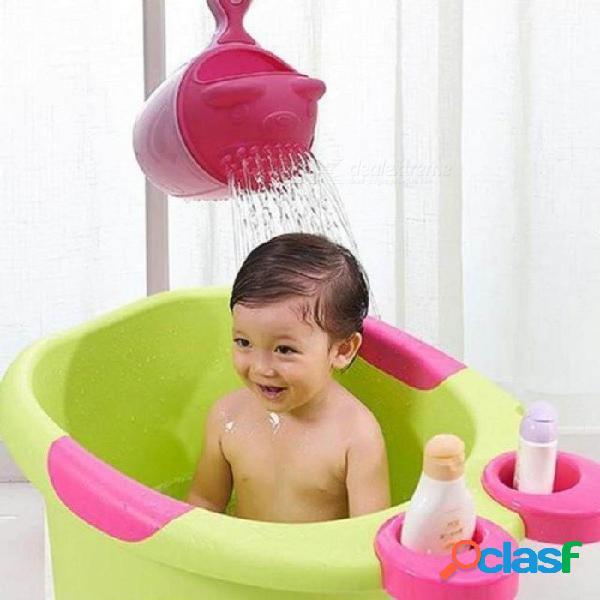 Bebé de dibujos animados gorros de baño bebé champú taza niños baño bailer baby shower cucharas niño lavado pelo taza niños baño herramienta d2 verde