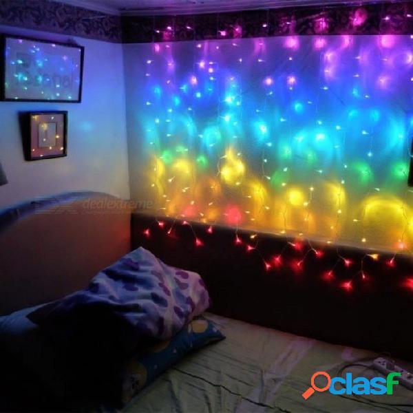 Conecte 2m el arco iris llevó las luces de la secuencia del carámbano de la cortina del led luces de hadas de la navidad luces del carámbano decoración del banquete de boda de navidad 2 pedaz