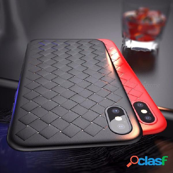 Funda de estilo de tejido de rejilla de lujo elegante de baseus, funda suave ultra fina para iphone x de alta calidad bv funda protectora tpu