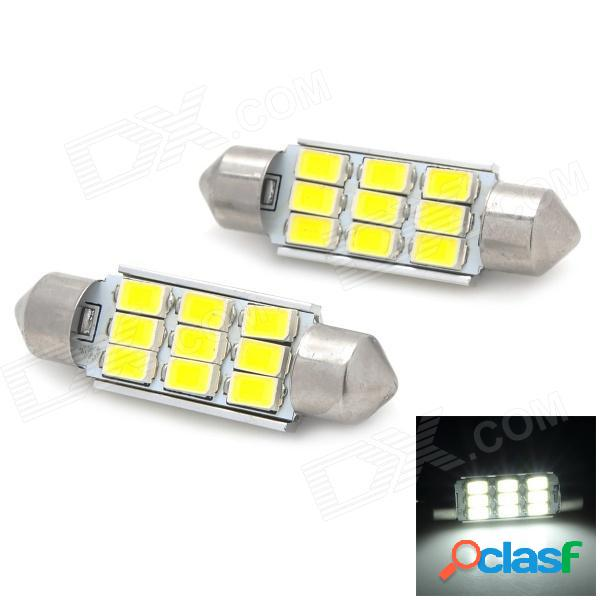 Lámpara de lectura de coche de luz blanca led de 39 mm 4.5w 180lm 9-smd 5730 led - plata + amarillo (2 pcs / 12v)