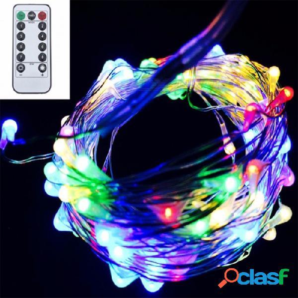 Luz de la secuencia led de batería flexible con control remoto decoración de fiesta de navidad de alambre de cobre de plata 5m 50led / rgb