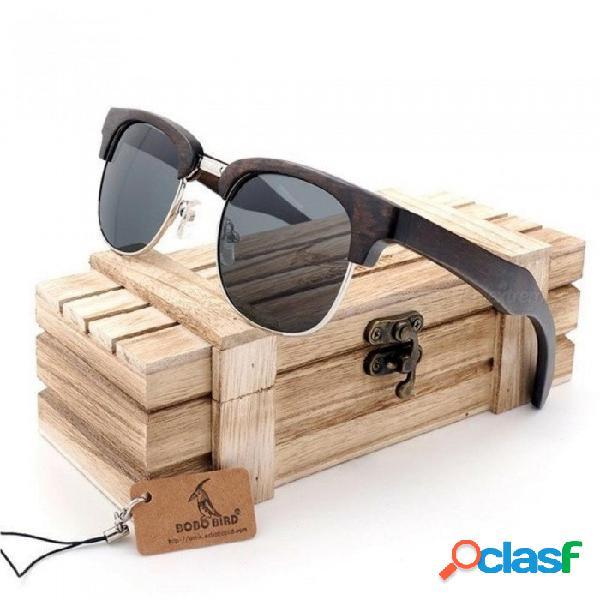 Medio marco gafas de sol de ojo de gato mujeres hombres gafas de madera estilo de verano gafas de playa en regalos caja de madera negro negro