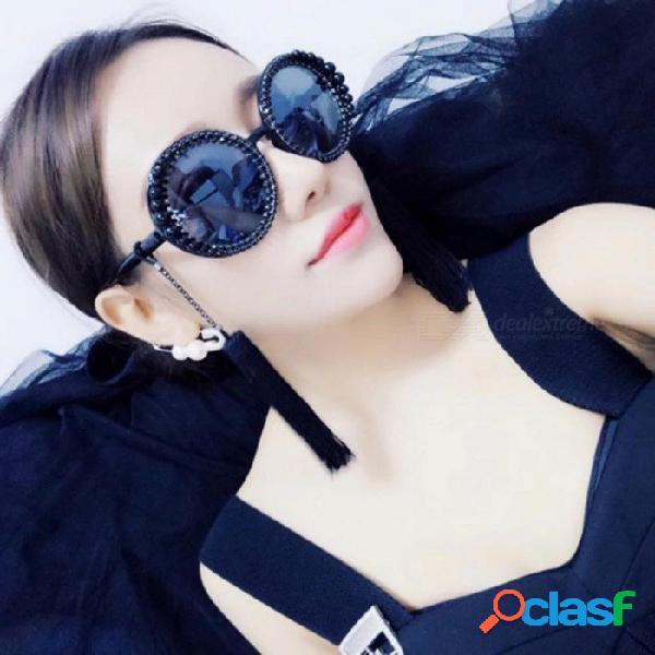 Moda retro borla barroco perla gafas de sol personalizada playa playa rhinestone vintage círculo gafas de sol grandes hembra negro