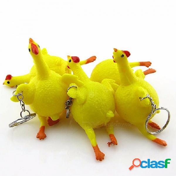 Novedad puesta de huevos gallinas atestado estrés bola llavero aliviador parodia truco divertido gadgets juguetes respiradero pollo amarillo