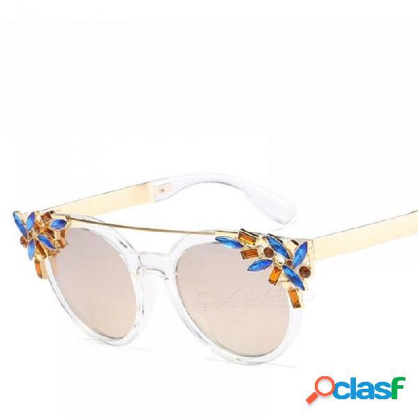 Playa de verano gafas de sol redondas para mujer mujer nueva moda marco de flor roja gafas de sol mujer gafas de sol rosa
