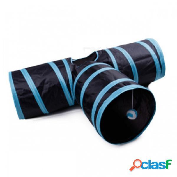 Plegable 3 agujeros gato mascota gatito conejo túnel de juguete para el juego de interior al aire libre divertido juguete divertido - azul + negro