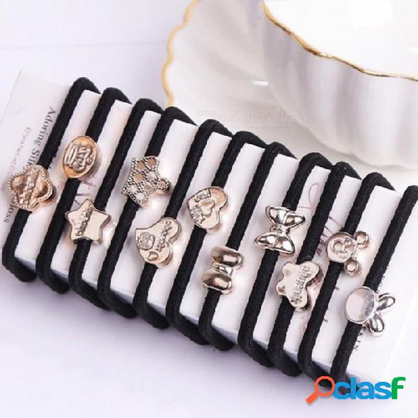 10 unids / lote coreano accesorios para el cabello para las mujeres negro elástico del pelo bandas de goma niñas encantadoras cuerdas para el cabello titular de cola de caballo corbatas 10 un