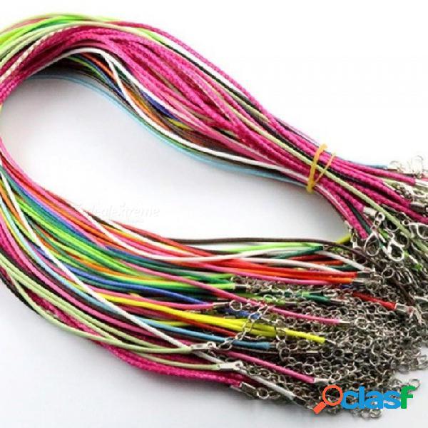 20 unids / lote real hecho a mano de cuero trenzado ajustable collares de la cuerda amp colgante encantos hallazgos corchete de la langosta cuerda 2 mm mezcla