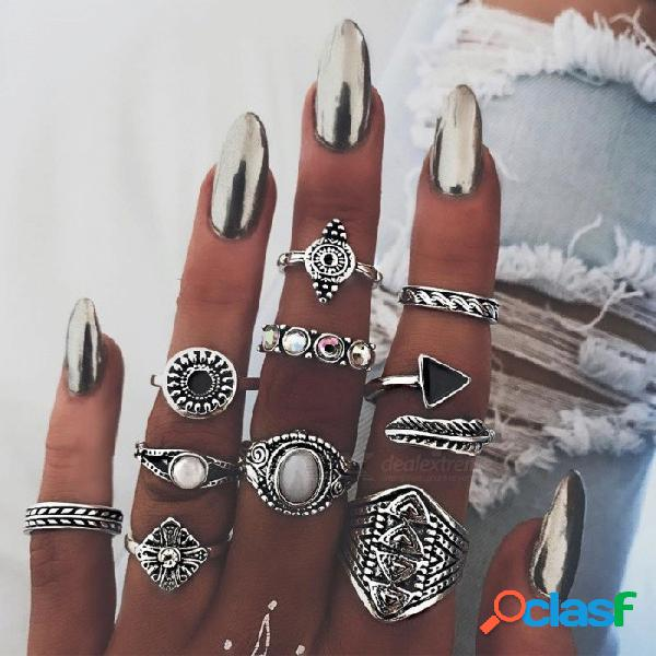 Anillos de moda conjunto creativo totem gema pluma de 10 piezas conjunto de anillos conjunto de gemas cristal mano anillo de oro