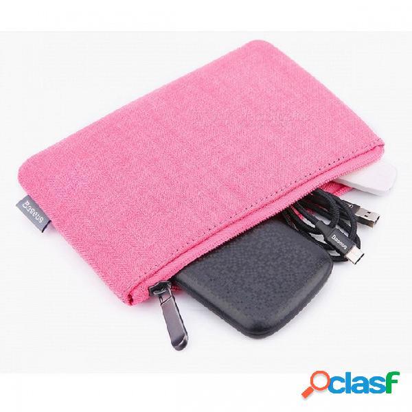 Baseus portátil bolsa de teléfono móvil bolsa caso bolsa de accesorios de teléfono celular de almacenamiento bolso para iphone samsung xiaomi huawei tela tela / rosa roja