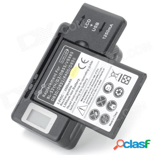 Batería de 3.8v 2500 mah li-ion + cargador de batería us plugss + juego de adaptador de enchufe de la ue para lg - negro