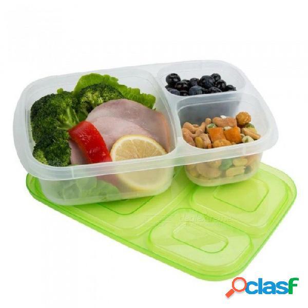Caja de almuerzo de plástico bento contenedores de almacenamiento de alimentos de microondas con compartimentos portátiles niños oficina de la escuela caja de almuerzo vajilla set 1 unid colo